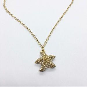 J. Crew Crystal Seastar Pendant Chain Necklace